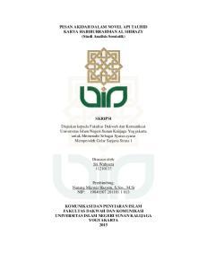 PESAN AKIDAH DALAM NOVEL API TAUHID KARYA HABIBURRAHMAN AL SHIRAZY (Studi Analisis Semiotik)