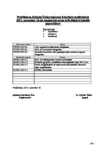 Petőfibánya Községi Önkormányzat Képviselő-testületének november 16-án megtartott soros nyílt üléséről készült jegyzőkönyv