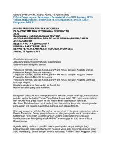 Pidato Penyampaian Keterangan Pemerintah atas RUU tentang APBN Tahun Anggaran 2013 Beserta Nota Keuangannya di Depan Rapat Paripurna DPR RI