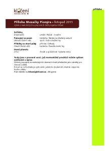 Příloha Mozaiky Pionýra listopad 2011 Výběr z metodických a pracovních listů projektu Klíčení