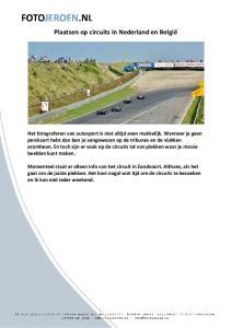 Plaatsen op circuits in Nederland en België