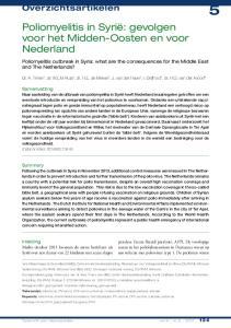Poliomyelitis in Syrië: gevolgen voor het Midden-Oosten en voor Nederland
