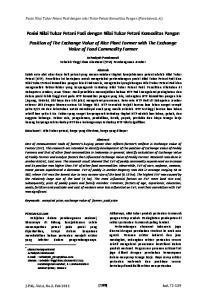 Posisi Nilai Tukar Petani Padi dengan nilai Tukar Petani Komoditas Pangan (Parabawati, A.)