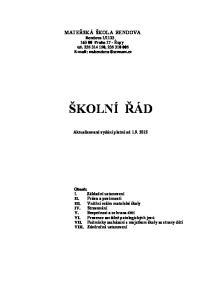 Praha 17 - Řepy tel , ŠKOLNÍ ŘÁD