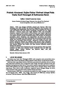 Praktek Akuntansi: Kajian Faktor Motivasi Adopsi Pada Usaha Kecil Menengah di Kalimantan Barat
