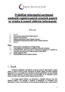 Průběžná informační povinnost emitentů registrovaných cenných papírů ve vztahu k cenově citlivým informacím