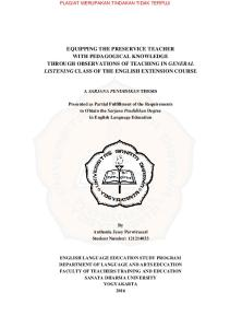 Presented as Partial Fulfillment of the Requirements to Obtain the Sarjana Pendidikan Degree in English Language Education