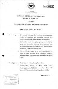 PRESIDEN REPUBLIK INDONESIA NOMOR 99 TAHT.IN 2OO1 TENTANG