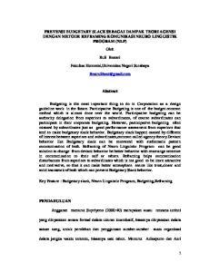 PREVENSI BUDGETARY SLACK SEBAGAI DAMPAK TEORI AGENSI DENGAN METODE REFRAMING KOMUNIKASI NEURO LINGUISTIK PROGRAM (NLP) Oleh