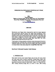 PROBLEMATIKA PERPAJAKAN INDONESIA DAN TINDAK PIDANANYA. Oleh; Pamulang   ABSTRAK