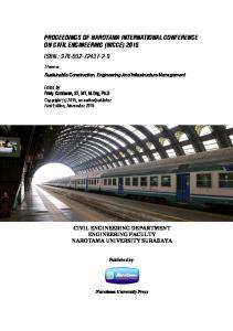 PROCEEDINGS OF NAROTAMA INTERNATIONAL CONFERENCE ON CIVIL ENGINEERING (NICCE) 2015 ISBN :