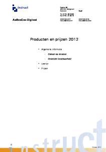 Producten en prijzen 2012