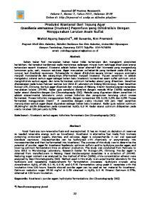 Produksi Bioetanol Dari Tepung Agar Gracilaria verrucosa (Hudson) Papenfuss yang Dihidrolisis Dengan Menggunakan Larutan Asam Sulfat