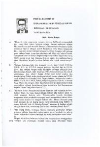 PROF.Dr.HAZAIRIN SH SEORANG MUJAHIDIN PENEGAK HUKUM BERDASAR KE TUHANAN YANG MAHA ESA. Oleh: Bismar Siregar