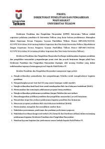 PROFIL DIREKTORAT PENELITIAN DAN PENGABDIAN MASYARAKAT UNIVERSITAS TELKOM