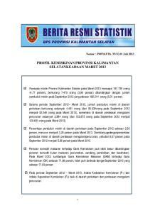PROFIL KEMISKINAN PROVINSI KALIMANTAN SELATANKEADAAN MARET 2013