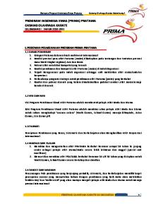 PROGRAM INDONESIA EMAS (PRIMA) PRATAMA CABANG OLAHRAGA KARATE GELOMBANG I : TAHUN