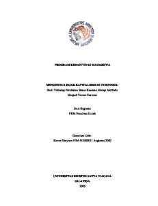 PROGRAM KREATIVITAS MAHASISWA. MENGENDUS JEJAK KAPITALISME DI INDONESIA: Studi Terhadap Perubahan Status Kawasan Merapi-Merbabu Menjadi Taman Nasional