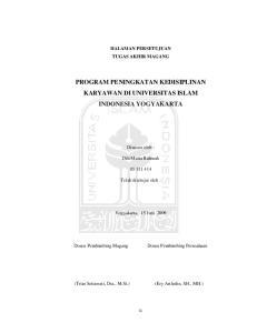 PROGRAM PENINGKATAN KEDISIPLINAN KARYAWAN DI UNIVERSITAS ISLAM INDONESIA YOGYAKARTA