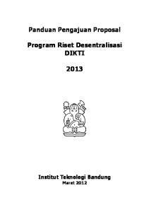 Program Riset Desentralisasi DIKTI