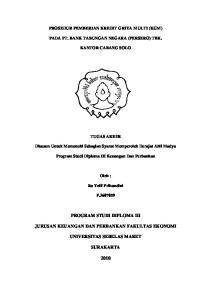 PROGRAM STUDI DIPLOMA III JURUSAN KEUANGAN DAN PERBANKAN FAKULTAS EKONOMI UNIVERSITAS SEBELAS MARET SURAKARTA