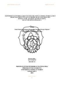 PROGRAM STUDI PENDIDIKAN MATEMATIKA PROGRAM PASCASARJANA UNIVERSITAS SEBELAS MARET SURAKARTA 2011
