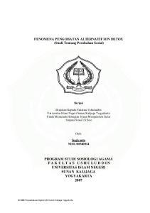 PROGRAM STUDI SOSIOLOGI AGAMA F A K U L T A S U S H U L U D D I N UNIVERSITAS ISLAM NEGERI SUNAN KALIJAGA YOGYAKARTA 2007