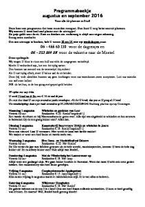 Programmaboekje augustus en september voor de dagreisjes en voor de vakantie naar de Moezel