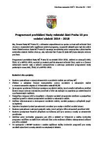 Programové prohlášení Rady městské části Praha 10 pro volební období