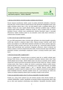 Projekt Park Rochus a připravovaný Koncept Regionálního operačního programu otázky a odpovědi