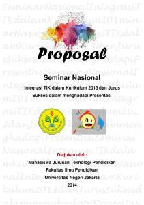 Proposal. ssuksesdalammenghadapip resentasiseminarnasionali. Seminar Nasional
