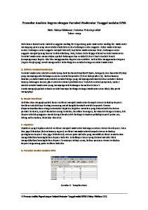 Prosedur Analisis Regresi dengan Variabel Moderator Tunggal melalui SPSS