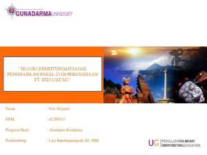 PROSES PERHITUNGAN PAJAK PENGHASILAN PASAL 23 DI PERUSAHAAN PT. INDOSAT M2