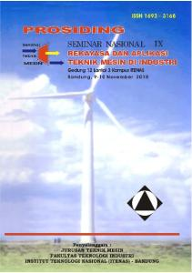 PROSIDING SEMINAR NASIONAL IX Rekayasa dan Aplikasi Teknik Mesin di Industri Itenas, Bandung, 9 November 2010