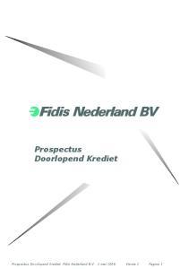 Prospectus Doorlopend Krediet. Prospectus Doorlopend krediet Fidis Nederland B.V. 1 mei 2006 Versie 1 Pagina 1