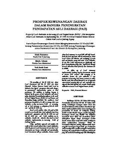 PROSPEK KEWENANGAN DAERAH DALAM RANGKA PENINGKATAN PENDAPATAN ASLI DAERAH (PAD)