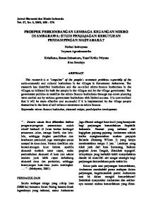 PROSPEK PERKEMBANGAN LEMBAGA KEUANGAN MIKRO DI AMBARAWA: STUDI PENJAJAGAN KEBUTUHAN PENDAMPINGAN MASYARAKAT