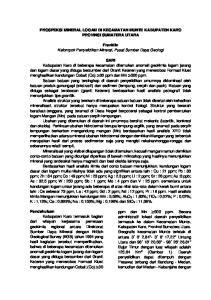 PROSPEKSI MINERAL LOGAM DI KECAMATAN MUNTE KABUPATEN KARO PROVINSI SUMATERA UTARA. Franklin Kelompok Penyelidikan Mineral, Pusat Sumber Daya Geologi