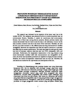 PROTOTIPE PENDINGIN TERMOAKUSTIK RAMAH LINGKUNGAN MENGGUNAKAN VARIASI BAHAN RESONATOR DAN PERANGKAT INTERFACE BERBASIS MICROCONTROLLER ATMEGA8535