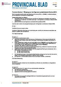 PROVINCIAAL BLAD. Provincie Zeeland Wijziging van het Algemeen subsidiebesluit Zeeland 2013