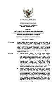 PROVINSI JAWA BARAT PERATURAN BUPATI KARAWANG NOMOR : 27 TAHUN 2014