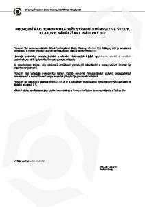 PROVOZNÍ ŘÁD DOMOVA MLÁDEŽE STŘEDNÍ PRŮMYSLOVÉ ŠKOLY, KLATOVY, NÁBŘEŽÍ KPT. NÁLEPKY 362
