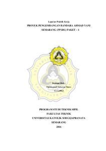 PROYEK PENGEMBANGAN BANDARA AHMAD YANI SEMARANG (PPSRG) PAKET 1