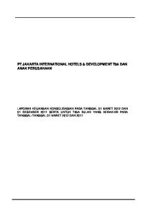 PT JAKARTA INTERNATIONAL HOTELS & DEVELOPMENT Tbk DAN ANAK PERUSAHAAN