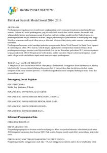Publikasi Statistik Modal Sosial 2014, 2016