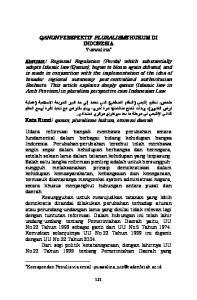 QANUN PERSPEKTIF PLURALISME HUKUM DI INDONESIA Yuswalina *