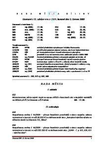 R A D A M Ě S T A B Í L I N Y. Usnesení z 11. schůze v roce 2009, konané dne 3. června 2009