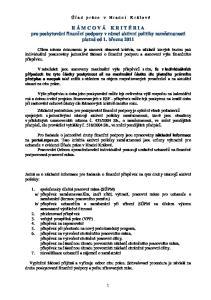 R Á M C O V Á K R I T É R I A pro poskytování finanční podpory v rámci aktivní politiky zaměstnanosti platná od 1. března 2011
