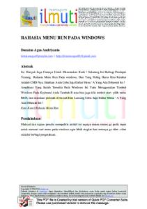 RAHASIA MENU RUN PADA WINDOWS