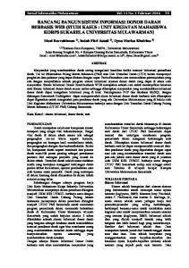 RANCANG BANGUN SISTEM INFORMASI DONOR DARAH BERBASIS WEB (STUDI KASUS : UNIT KEGIATAN MAHASISWA KORPS SUKARELA UNIVERSITAS MULAWARMAN)